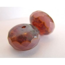 2 Grosses perles à facettes potirons rose opal