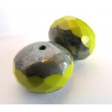 2 Grosses perles à facettes potirons verte lime