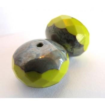 2 Grosses perles à facettes potirons verte lime 17 mm