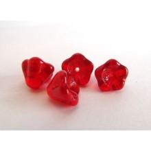 4 fleurs en verre de bohème rouge opal