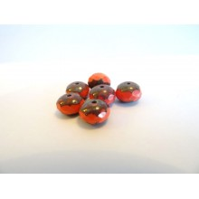 6 perles potirons corail 9 x 6 mm