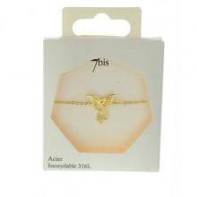Bracelet colibri acier doré