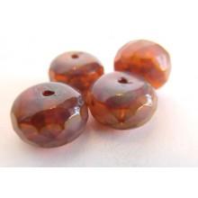 4 perles à facettes potirons rose opal 14 mm