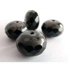 4 perles à facettes potirons noirs 14 mm