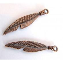 2 Breloques plumes cuivre